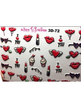 3D Heart sticker  №72