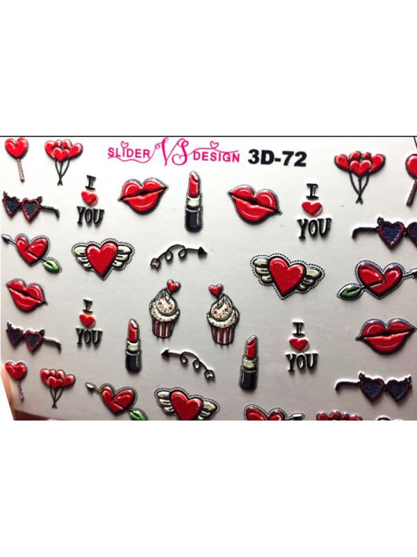 3D Heart sticker  №72