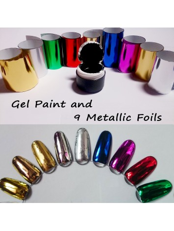 9 foils  and Black Gel Paint Set for Color Casting