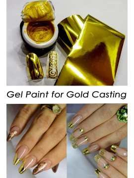 Gold Gel Paint for gold casting + 1m gold foil
