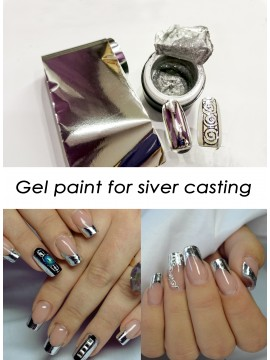 Silver Gel Paint for silver casting + 1m silver  foil