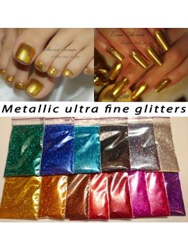 Set of  Metallic Mirror Ultra Fine Glitters, 5g