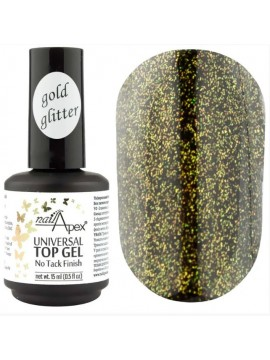 NailApex Top Gold Glitter Coat ,  15 ml