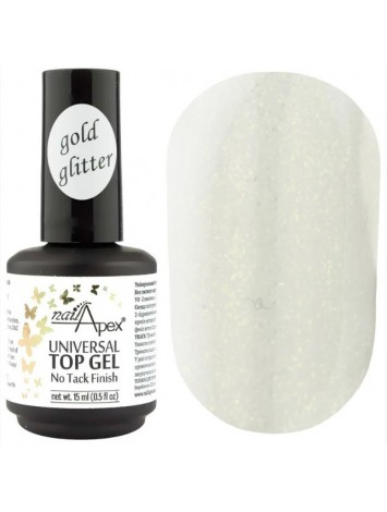 NailApex Top Gold Glitter Coat ,  15 ml