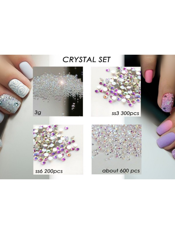 Crystal set AB Rhinestones Pixie Caviar Beads